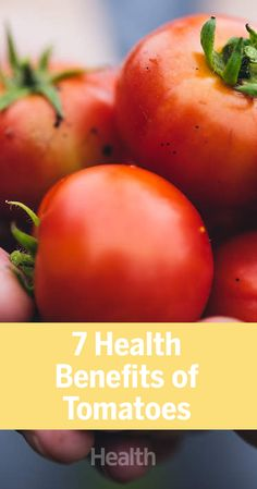 Tomatoes are chock-full of nutrients and has been linked to a variety of health benefits. Here are seven along with some simple ways to incorporate more tomatoes into your everyday meals and snacks. Tomato Nutrition, Plant Based Nutrition, Health And Nutrition, Nutrition Quotes, Tomato Benefits, Health Benefits Of Tomatoes, Healthy Food Choices, Healthy Life, Healthy Living