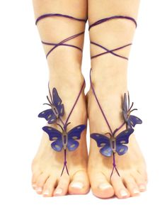 Hey, I found this really awesome Etsy listing at https://www.etsy.com/listing/176202668/butterfly-barefoot-sandal-deep-purple