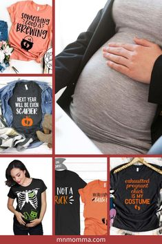Halloween T-shirts for Pregnant Women. If you've been looking for a great way to dress up for Halloween - these maternity shirts are perfect! Whether it's for couples or just for an expecting mom herself, you'll love these festive Halloween and fall tshirts. If you're looking for a pregnancy Halloween costume - these also make for great, easy costume ideas! And the best part? They're super comfortable! #pregnancy #halloween #maternityshirt #costumeideas Pregnant Halloween Costumes, Easy Costumes, Family Costumes, Group Costumes, Halloween Shirt, Costume Ideas, Pregnancy Weight Gain, Maternity Shirts, Pregnancy Signs