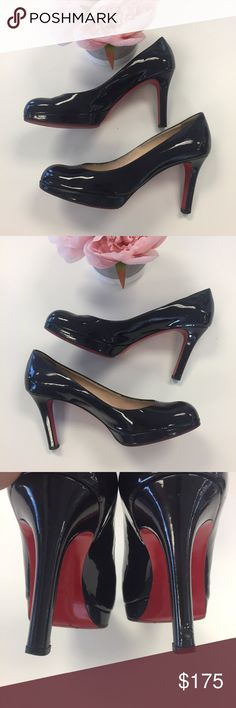 Christian Louboutin Patent Pump Heel Beautiful fall ready pair of Louboutin Pumps 💯 authentic! They have been resoled and has wear in the heel as shown. Dark plum color. Christian Louboutin Shoes Heels