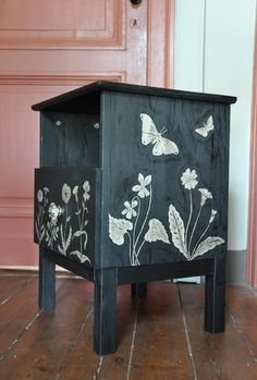 DIY hand painted nightstand furniture - black & silver flowers & moths