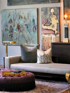 Magnificent, oversized wall art anchors this contemporary room. Wall art artwork ideas artwork for living room abstract art DIY art inspiration Decoration Inspiration, Interior Inspiration, Design Inspiration, Decor Ideas, Room Ideas, Art Ideas, Room Inspiration, Best Interior, Home Interior Design