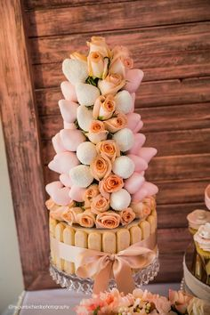Floral Dessert + Chocolate Covered Strawberry Tower from a Pink + Gold 1st Birthday Party via Kara's Party Ideas | KarasPartyIdeas.com (42)