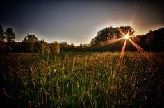 Herbst Sonnenuntergang Landschaft Felder und von Visionitaliane, $25.00