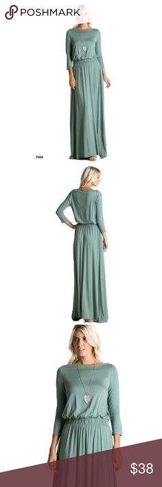 "$50 Green Maxi Dress Boat Neck Long Blouson Pocket Sage Green Maxi Dress Boat Neck Long with Pockets  Beautiful boat neck maxi dress with elastic waist and side pockets.  Made of soft jersey material  Approx. measurements Small bust is 17"" and the waist is 13""  #greendress #maxidress #dresswithpockets #longdress Dresses Maxi"