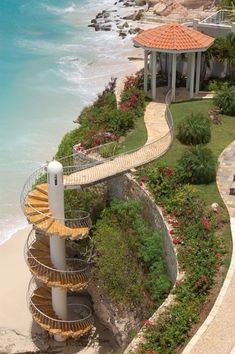 Private stairway to Private Beach at Porto Cupecoy in Dutch St. Maarten.