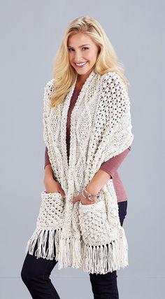This soft, cozy shawl with pockets is knit using Mary Maxim Aran Irish Tweed or Aran Irish Twist yarn. Crochet Shawls And Wraps, Knitted Shawls, Crochet Scarves, Crochet Clothes, Knit Poncho, Crochet Wrap Pattern, Knit Crochet, Crochet Patterns, Crochet Shawl Free