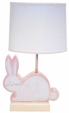 Pink Bunny Character Personalized Ceramic Figure Lamp