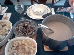 This is our traditional Slovak Christmas Dinner. Pirohi, a variety of Bobalki, & Sour Mushroom soup.