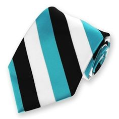 Men's Turquoise, White and Black Striped Tie, $7.95.