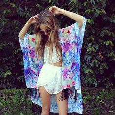 Inka Williams wearing Peppermayo Inka Williams, Boho Fashion, Womens Fashion, Summer Shorts, Festival Outfits, Kimono Top, Cover Up, Bohemian, My Style