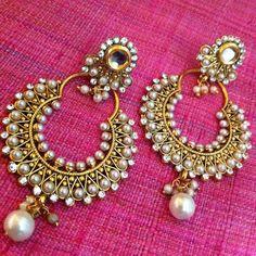 Kundan colourful pearl bali hoop earring,Ethnic Indian Bollywood Jewelry c467 #ADIVA