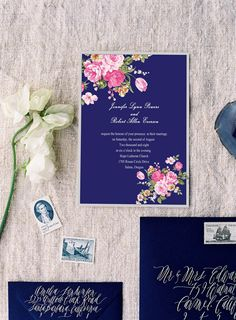 Vintage Royal Blue And Pink Fl Wedding Invitations Ewi137