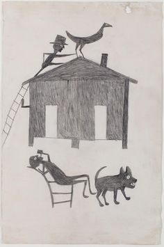 """cinoh: """"philamuseum: """"House with Two Men, a Turkey, and a Dog,"""" c. 1939–1942, by Bill Traylor """""""