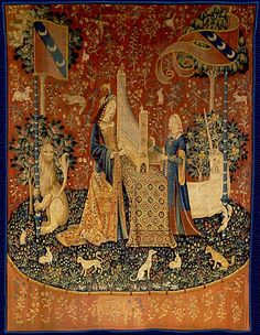 "La Dame à la licorne (The Lady and the Unicorn), Hearing, Flanders, Cluny Museum, Paris. This tapestry is part of a groupe of 6 others : Touch, Taste, Smell, Hearing, Sight and the mysterious ""À Mon Seul Désir"" (""according to my desire alone""). In each tapestry all the caracters are depicted, one of them is a unicorn."