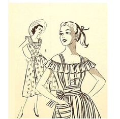 1950s Dress Pattern Off the Shoulder Mail by RebeccasVintageSalon, $20.00