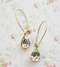 Luminous Green Swarovski Crystals Earrings by rosesandlemons