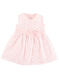 Embroidered baby dress with bow. Shop now: http://petitchic.com/new-arrivals/il-gufo/broderie-jurkje-met-strikje