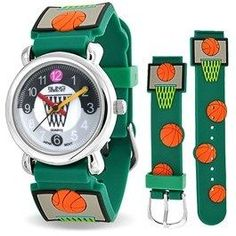 Bling Jewelry Green Basketball Hoop Sports Kids Watch Stainless Steel Back.