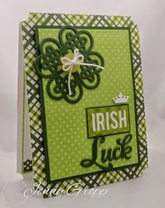 One Krafty Kat: Serendipity Stamps Shamrock, Lucky and Poker Chip dies. St. Patrick's Day