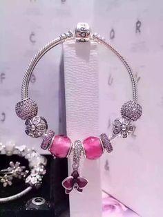 50% OFF!!! $239 Pandora Charm Bracelet Purple. Hot Sale!!! SKU: CB01682…