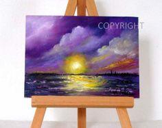 """Púrpura puesta de sol 2, pintura al óleo originales, 3 x 4"""", artículo del regalo, púrpura puesta de sol, formación de nubes, incluye caballete, arte"""