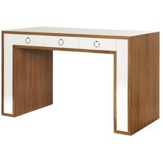 Worlds Away Rosewood Desk With White Lacquer Drawers And Hardware ($2,825) ❤ liked on Polyvore featuring home, furniture, desks, rosewood desk, white furniture, worlds away furniture, rosewood furniture and rose wood furniture