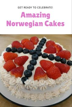 Traditional eye-catching cakes from Norway for your next celebration Norway National Day, Traditional Cakes, Cake Servings, Served Up, Cream Cake, Party Cakes, Ale, Celebration, Sweets