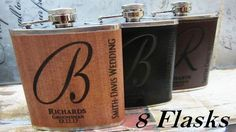 Set of 8 Personalized Gift Ideas // Flasks by weddingpartygifts