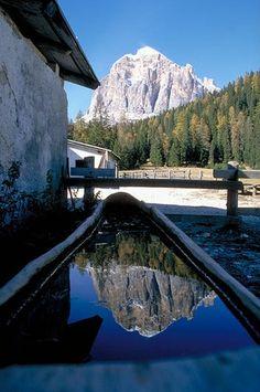 Provincia di Belluno - Tofana di Rozes riflessa nell'abbeveratoio di una malga  #TuscanyAgriturismoGiratola