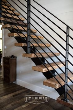 36 Ideas Industrial Stairs Design Modern Staircase For 2019 Design Industrial, Industrial Stairs, Modern Industrial, Staircase Remodel, Staircase Makeover, Rustic Staircase, Staircase Ideas, Open Staircase, U Shaped Staircase
