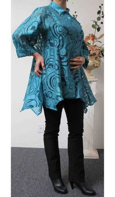 Romantic Teal color Plus size top and Regular by Dare2bStylish, $59.00
