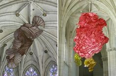 Billowing Ruffles of Colorful Paper Sculptures Float Overhead - My Modern Metropolis
