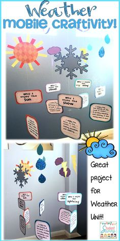 Crafty weather mobile activity for students! Perfect for my weather unit! #science #weather #crafty