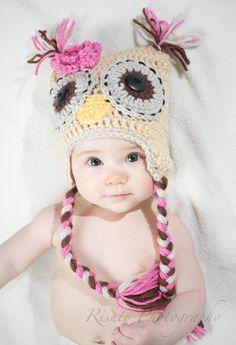 Ragazze gufo all uncinetto cappello Baby di AccesoriesSupplies 1737608a2299