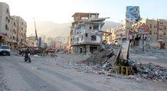 Im Krieg zerstörte Häuser im jemenitischen Tais, einer im Südwesten von Sanaa gelegenen Stadt
