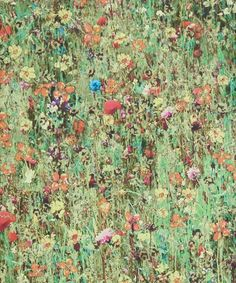 Mawston Meadow print wallpaper is a wild flower meadow design which was created from a photograph taken on a summer's day in August at Goldolphin House in Cornwall.
