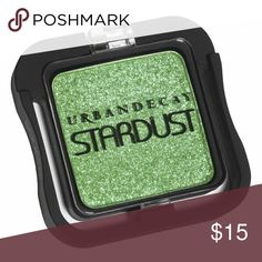 Urban Decay Stardust Eyeshadow Griffith Swatch one time only. Like new.   Griffith is a soft yellow-toned green with paler green sheen and sparkle. You can get some green to show when you use this dry, but it's better when used wet or over a base. Stardust delivers a sheer wash of color,  topped with teeny bits of iridescent sparkle that glistens like wet snow. The glitter actually stays on your lids. No chunky glitter. Urban Decay Makeup Eyeshadow