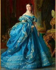 renaissance art Canvas Prints Painting - Isabella Princess Of Asturias Daughter Of Isabella II Of Spain by Vicente Palmaroli Vintage Gowns, Mode Vintage, Vintage Outfits, Victorian Art, Victorian Fashion, Vintage Fashion, Rococo Fashion, 1500s Fashion, Bourbon