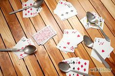 How to Play Spoons (Card Game). Spoons is a classic card game that combines the simple fun of matching games with the frantic thrills of musical chairs. Activity Games, Fun Activities, Dice Games, Therapy Activities, Physical Activities, Physical Education, How To Play Spoons, Classic Card Games, Family Fun Night