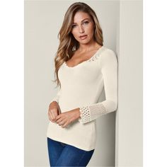 242a9586da19d Venus Women s Crochet Detailed Sweater ( 28) ❤ liked on Polyvore featuring  tops
