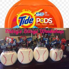 """Tide Pods Containers made into Baseball """"candy bouquet"""" Thank you gift for coaches! Baseball Tips, Baseball Mom, Baseball Season, Baseball Stuff, Baseball Games, Baseball Equipment, Baseball Snacks, Baseball Girlfriend, Baseball Shirts"""