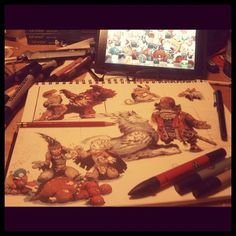 Sketchbook, col-erase, ink, markers and imagination #bliss #battleberzerkerbalto #art #studies (Taken with instagram)