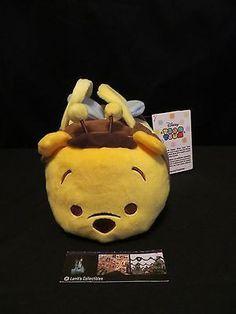 Disney Pooh Bumble Bee Tsum Tsum Plush Bag w/ Pooh Eeyore Tigger Piglet US item