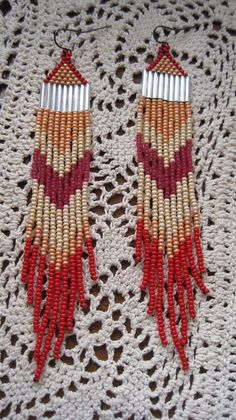 hand beaded fringe earrings feather native by handmadewarrior