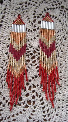 hand beaded fringe earrings feather native by handmadewarrior