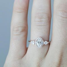 Flower Engagement Ring Set Rose Gold Engagement Rings Flower Moissanite Ring with Half Eternity Band - Fine Jewelry Ideas Shop Engagement Rings, Rose Gold Engagement Ring, Engagement Ring Settings, Diamond Wedding Rings, Vintage Engagement Rings, Wedding Bands, Halo Engagement, Art Nouveau, Thing 1