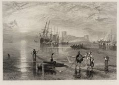 After Joseph Mallord William Turner 'Flint Castle, North Wales, engraved by James Harfield Kernot', published 1836