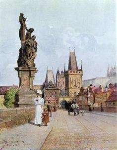 "size: Giclee Print: Statue of St. Lutgardis on the Charles Bridge, Prague, Illustration from ""Stara Praha ,"" circa 1900 by Vaclav Jansa : Artists Pont Charles, Charles Bridge, Great Paintings, Old Paintings, Statues, Prague Cz, Old Town Square, Prague Castle, Colourful Buildings"