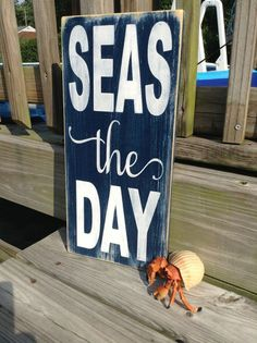 Nautical Sign Seas The Day Beach Coastal and Nursery Decor by justbeachyshop on Etsy